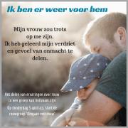 Foto van man met klien kind met tekst over hoe het rouwproces heeft doorstaan